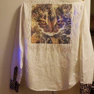 Roberto Cavalli shirt white animal print